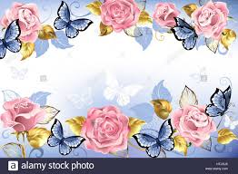 pink roses with blue butterflies with golden leaves on a light blue