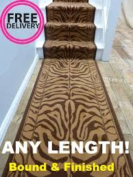 Leopard Print Runner Rug Zebra Brown 60cm Wide Any Length Animal Print Stair