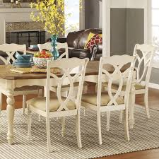tribecca home shayne country antique white beige side chairs set