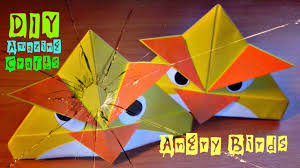 diy how to make origami angry birds funny 3d crafts easy