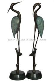 bronze crane heron sculpture pair garden outdoor decor buy