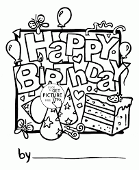 nice happy birthday card coloring page for kids holiday coloring