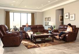 Power Reclining Sofa Set Catnapper Patton Top Grain Italian Leather Lay Flat Power