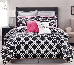 Modern Bedding Sets 12 Pc Modern Bedding Black White Pink Chic King Comforter Set Bed
