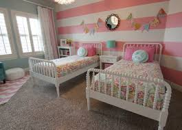 Pink And White Striped Rug Pink And White Striped Feature Wall In A Girls Room Decor A