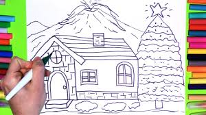 colouring house and pine tree baby clothes and teach draw for