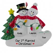 couples newlyweds ornaments personalized