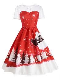 vintage dresses red 2xl santa claus deer christmas party vintage