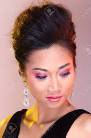hairstyle for evening event black open shoulders evening gown ball dress in asian beautiful