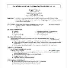 engineering student sample resume resume samples for engineering