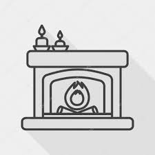 christmas fireplace flat icon with long shadow line icon u2014 stock