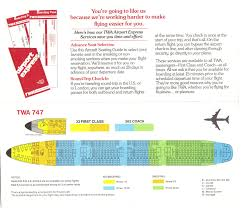 airlines past present twa seat guide map twa boeing 747 seating guide map