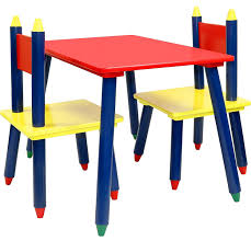 crayola table and chairs amazon com click n play kids wooden crayon themed table and chair