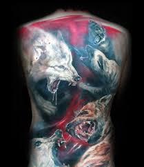 40 wolf back tattoo designs for men fierce ink ideas
