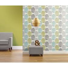 only 6 per roll opera heavyweight wallpaper retro leaf teal