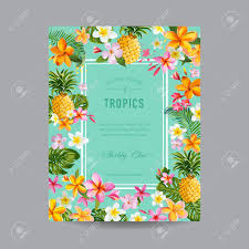 Baby Shower Card Invitations Tropical Floral Frame For Invitation Wedding Baby Shower