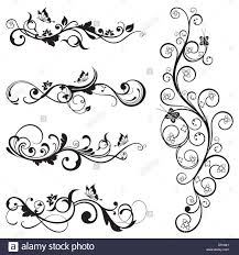 collection of vintage floral silhouette designs with butterflies and