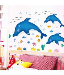 stickerskart blue kids room baby nursery cartoon dolphins star