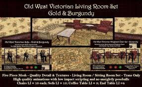 Burgundy Living Room Set by Second Life Marketplace Old West Victorian Livingroom Set Gold