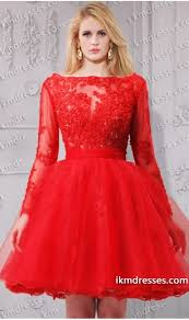 amazing sequins sprinkled sheer lace long sleeves tulle short prom