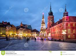 christmas in old town of warsaw in poland stock photo image