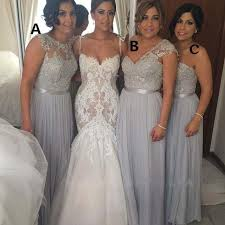 silver bridesmaid dresses glamorous silver grey chiffon lace bridesmaid dresses with beaded