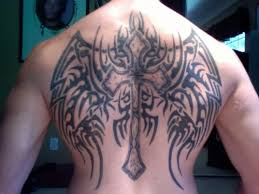 black cross wings tattoo