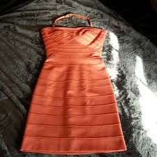 new bcbgmaxazria coral bandage dress