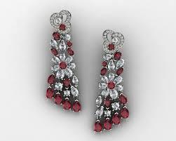 diamond earrings designs diamonds ruby and diamond earrings 3d print model