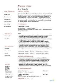 Examples Of A College Resume by Bus Operator Resume Job Description Example Template Driving