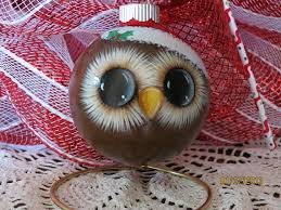 owl ornament with santa hat handpainted glass by grannykstreasures