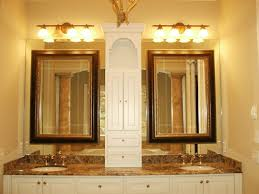 Bathroom Mirror With Light Bathroom Mirrors Ideas With Vanity White Stained Wooden Frame