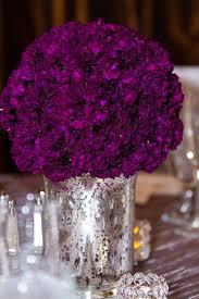 Carnation Flower Ball Centerpiece by Mercury Glass Planters With Purple Carnations Mercury Glass