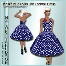 second life marketplace ladies 1950 u0027s blue polka dot cocktail dress