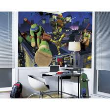 kids wall murals wall decor the home depot teenage mutant ninja turtles cityscape chair rail prepasted wall