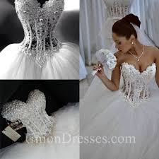 corset wedding gorgeous gown sweetheart see through tulle pearl beaded