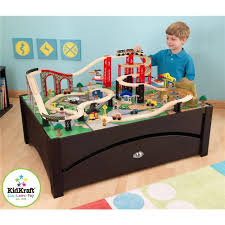 amazon com kidkraft new metro wooden play train table u0026 set