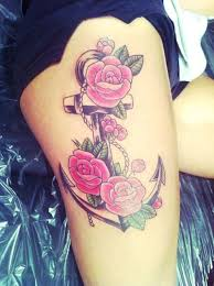 best 25 anchor flower tattoos ideas on anchor thigh