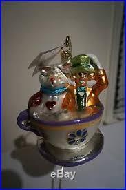 christopher radko disney in teacup glass ornament
