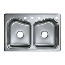 Kitchen Sink by Kohler Staccato Drop In Stainless Steel 33 In 1 Hole Double Basin