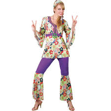 m ladies hippie costume for hippy 60s 70s fancy dress