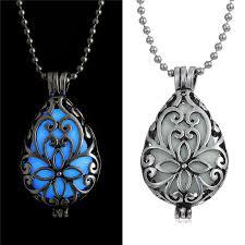 blue gem necklace images 1 pcs steampunk heart luminous blue gem glow in dark locket jpg