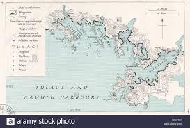 Solomon Islands Map Solomon Islands Tulagi U0026 Gavutu Harbours Ww2 Royal Navy Stock