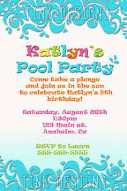 pool party birthday invitation swimming water favor beach ebay