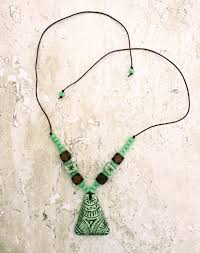 allergy free jewelry necklace green brown organic earthy necklace nonmetal