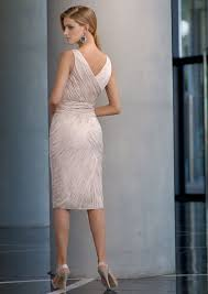 v neck ruched beaded knee length mother of brides dress with