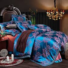 Tribal Print Bedding Shiny Sequin Sapphire Blue And Rose Gold Vintage Victorian Gothic
