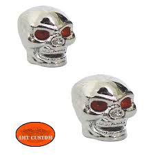 2 skull bolts valve caps motorcycles harley kustom