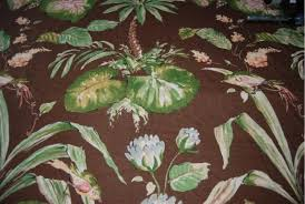 Tropical Upholstery Hd712 Thibaut Bayou Pattern Tropical Leaf Barkcloth Style Print