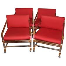 Craftmade Furniture Four Lucite Rattan Or Bamboo Ficks Reed Armchairs At 1stdibs